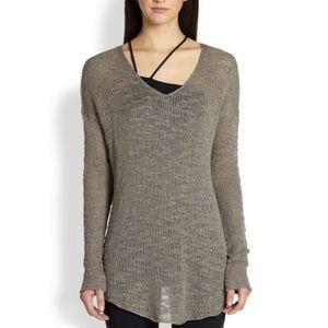 Helmut Lang Irregular v neck sweater in taupe